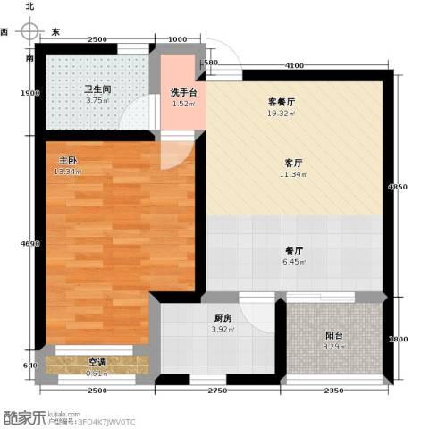 教授花园1室1厅1卫1厨57.00㎡户型图