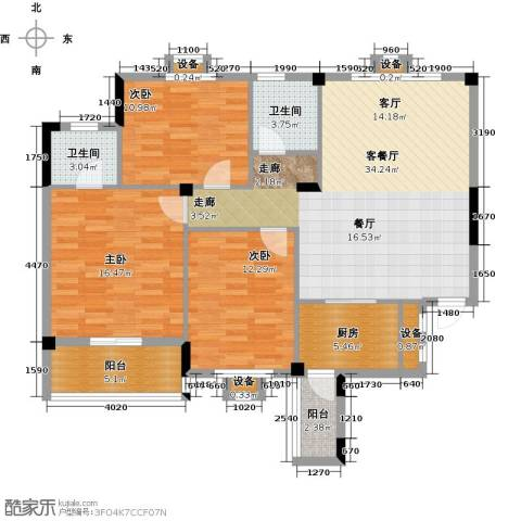 丽水康城(二期)3室1厅2卫1厨118.00㎡户型图