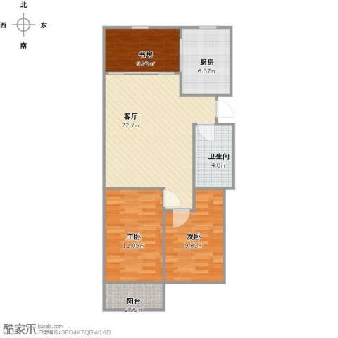 玉景家园3室1厅1卫1厨88.00㎡户型图
