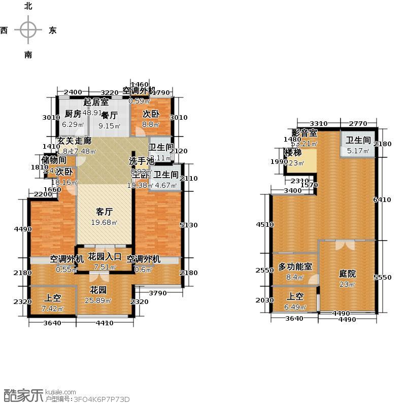 渤龙国际公寓155.60㎡Ba1(负一层 105.2平米)户型3室2厅2卫