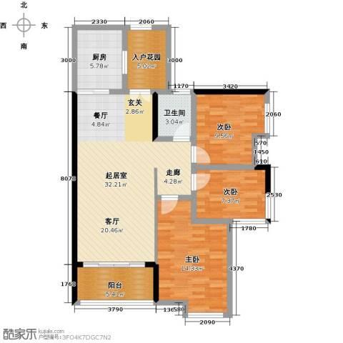 大汉汉园3室0厅1卫1厨109.00㎡户型图