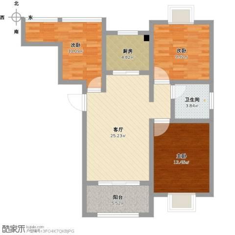 御景龙湾3室1厅1卫1厨101.00㎡户型图