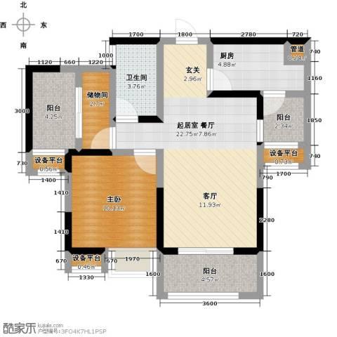 峰度天下1室0厅1卫1厨77.00㎡户型图