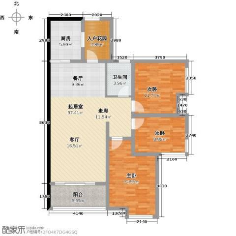 大汉汉园3室0厅1卫1厨118.00㎡户型图