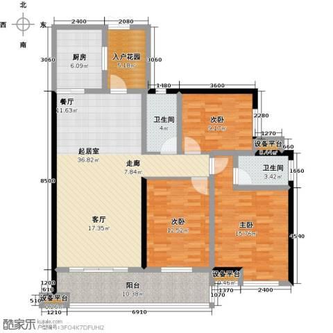 大汉汉园3室0厅2卫1厨128.00㎡户型图