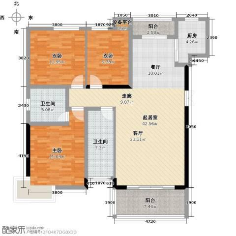 大汉汉园3室0厅2卫1厨130.00㎡户型图