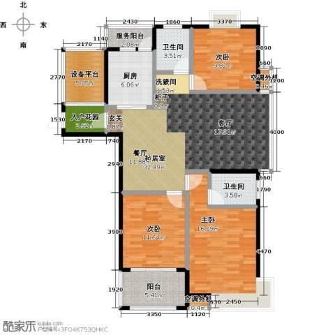 金源世纪名郡3室0厅2卫1厨142.00㎡户型图