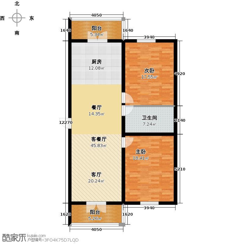 广电佳园2号楼C户型2室1厅1卫1厨使用面积82.33平米户型