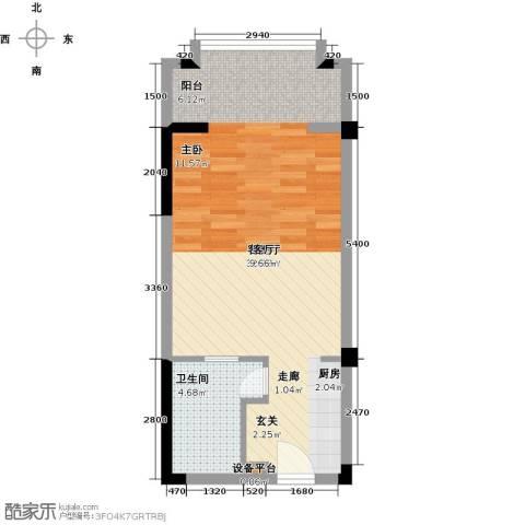 丽江幸福里1厅1卫0厨53.00㎡户型图