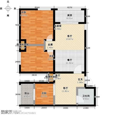 华夏世纪广场3室1厅1卫1厨110.00㎡户型图
