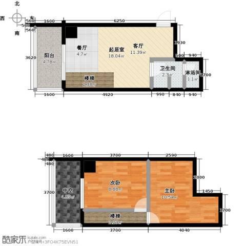 银河国际项目2室0厅1卫0厨52.75㎡户型图