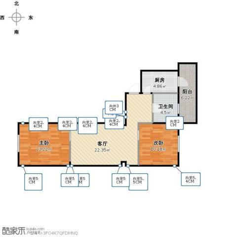 蓉芳里2室1厅1卫1厨66.37㎡户型图