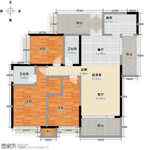 五洲花城二期3室0厅2卫0厨135.00㎡户型图