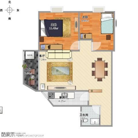 东晖花园2室1厅1卫1厨79.00㎡户型图