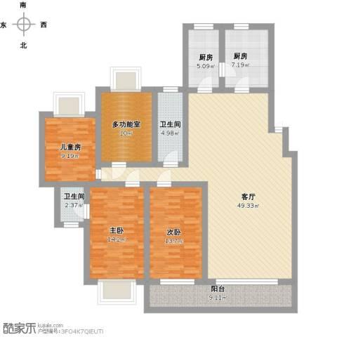 普瑞花园3室1厅2卫2厨186.00㎡户型图