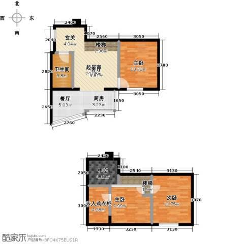 银河国际项目3室0厅1卫0厨67.14㎡户型图