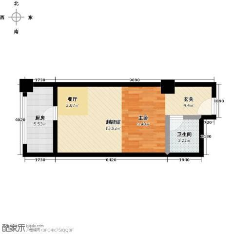 华夏世纪广场1卫1厨42.00㎡户型图