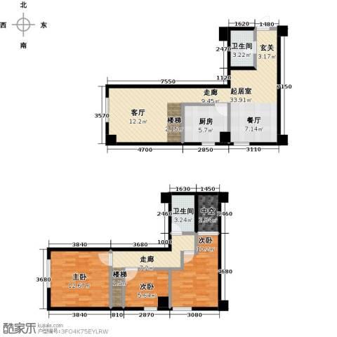 银河国际项目3室0厅2卫1厨84.61㎡户型图