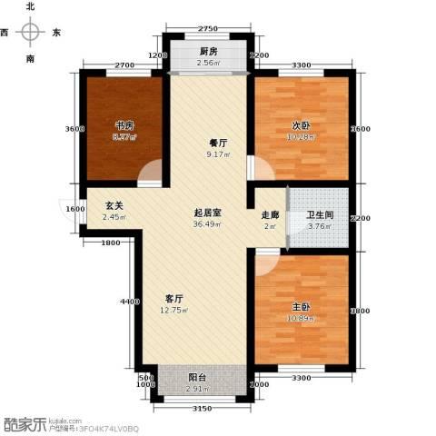 蓝廷花苑3室0厅1卫1厨107.00㎡户型图