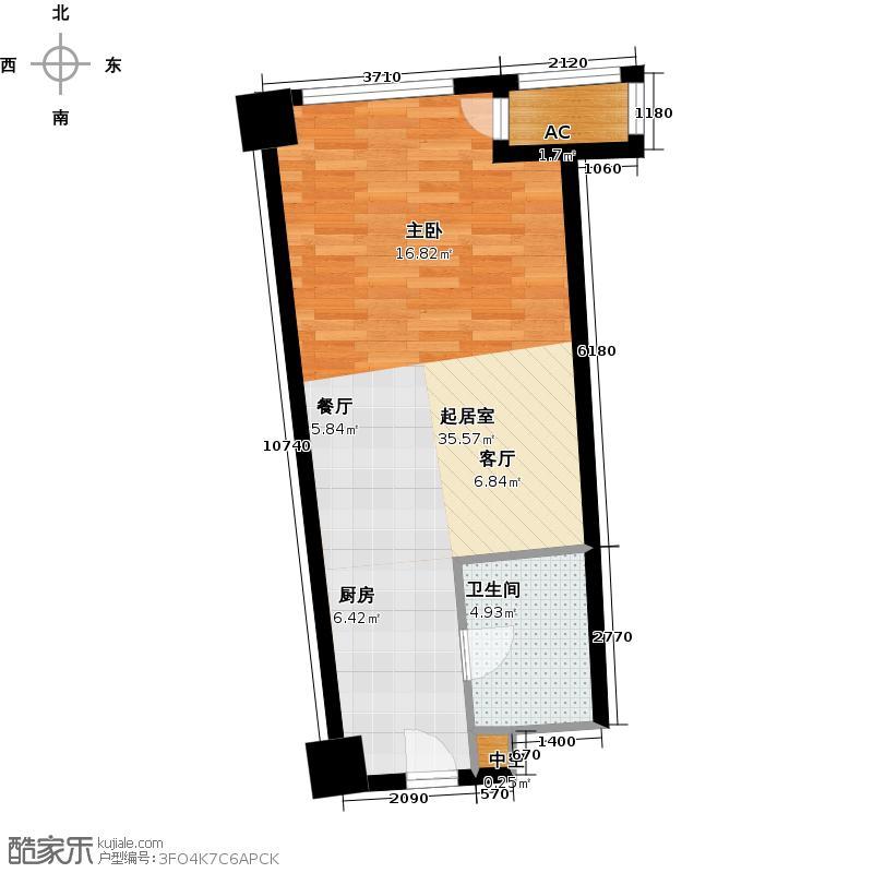 中宇国际中心47.80㎡2-19层A户型,层高3.3米精装酒店式公寓户型1室1厅1卫