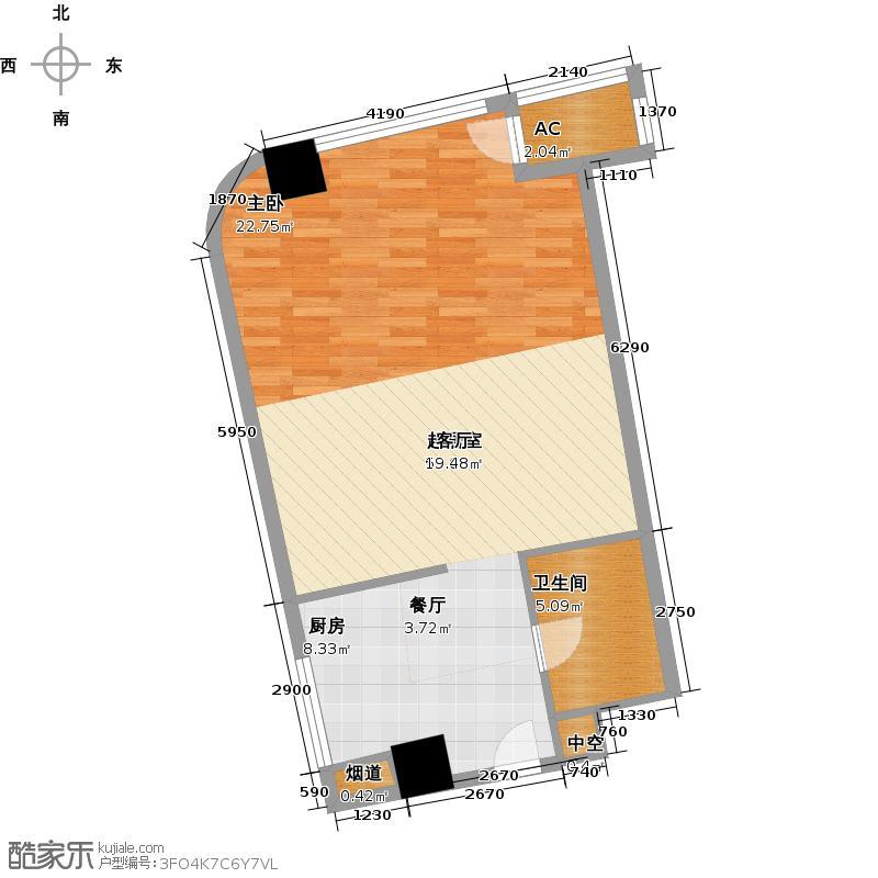 中宇国际中心67.80㎡2-19层B户型,层高3.3米精装酒店式公寓户型1室1厅1卫
