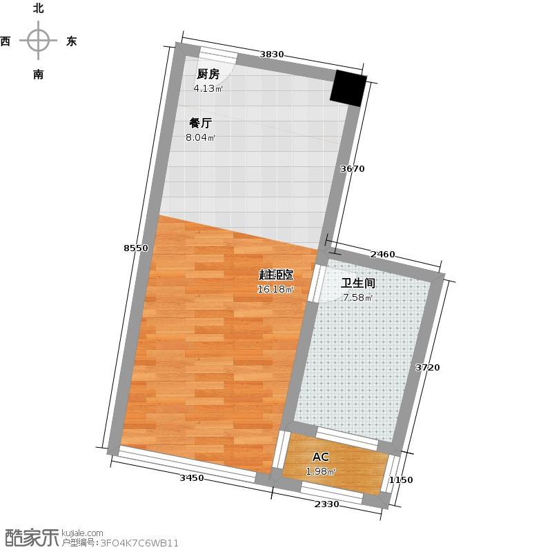 中宇国际中心43.69㎡2-19层D户型,层高3.3米精装酒店式公寓户型1室1厅1卫