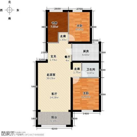 蓝廷花苑3室0厅1卫1厨98.00㎡户型图