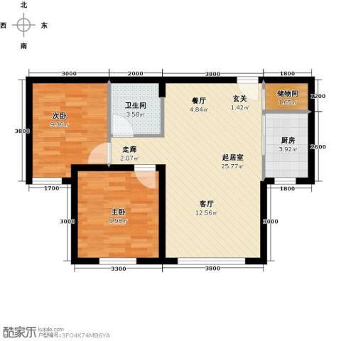 蓝廷花苑2室0厅1卫1厨85.00㎡户型图