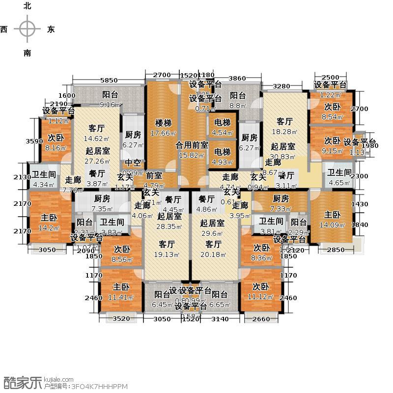 资阳恒大城标准层平面示意图户型