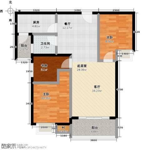 金河湾花园3室0厅1卫1厨98.00㎡户型图