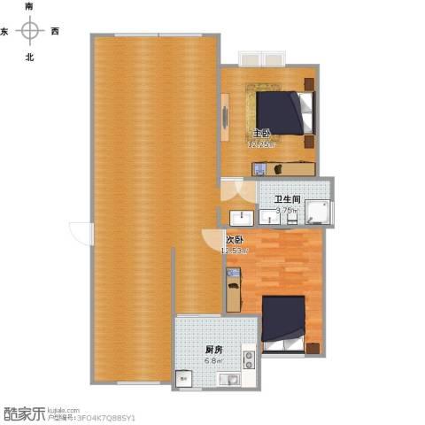 枫树园二期2室1厅1卫1厨111.00㎡户型图