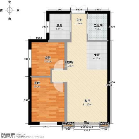 溪语原筑2室1厅1卫1厨75.00㎡户型图