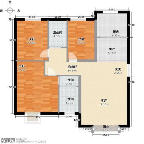 溪语原筑3室1厅3卫1厨130.00㎡户型图