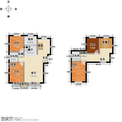 溪语原筑3室2厅2卫1厨159.00㎡户型图