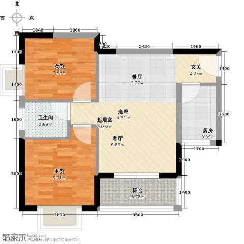 福隆花园2室0厅1卫1厨67.00㎡户型图