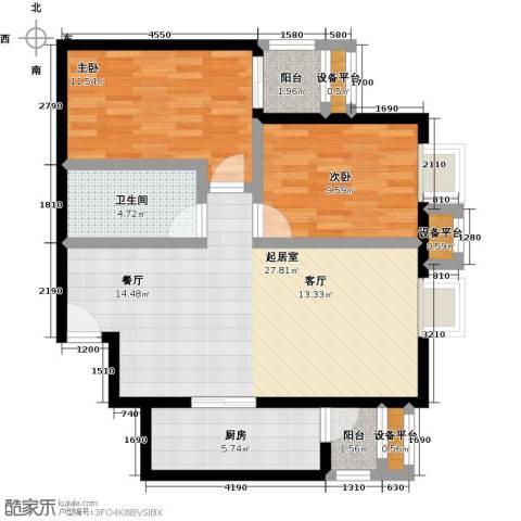 金唐国际公寓2室0厅1卫1厨90.00㎡户型图