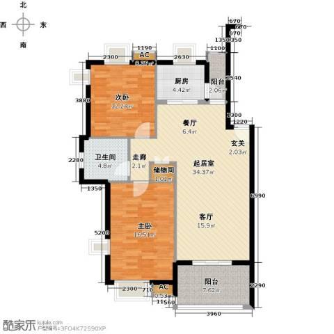 复地翠微新城(四期)2室0厅1卫1厨118.00㎡户型图