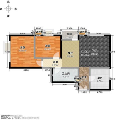 华凯花园2室0厅1卫1厨96.00㎡户型图