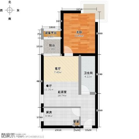 金唐国际公寓1室0厅1卫1厨60.00㎡户型图