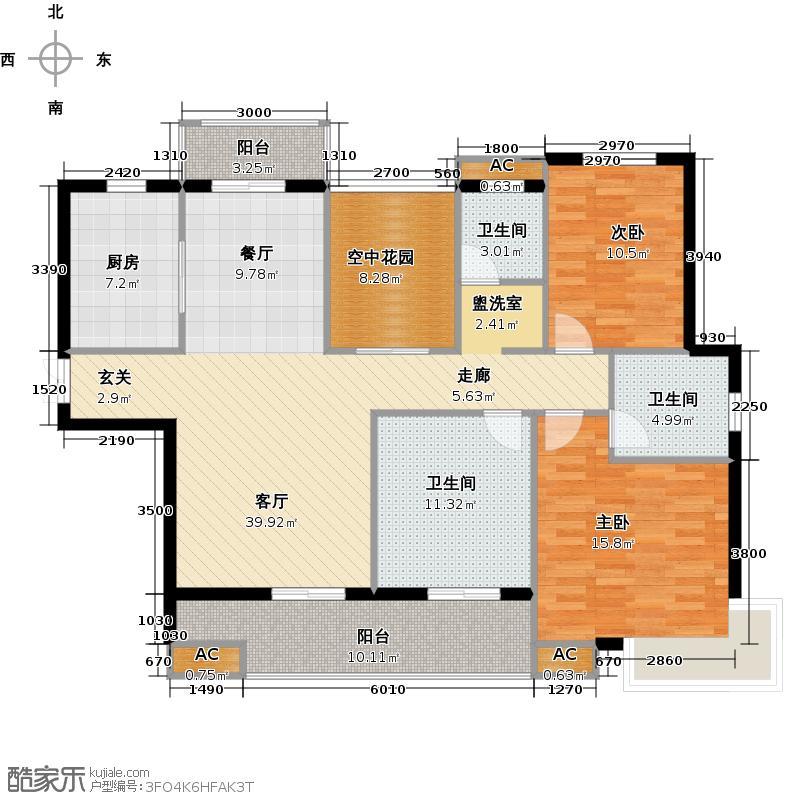 九华金水湾户型2室1厅3卫1厨