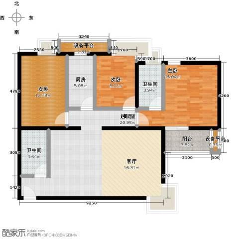 金唐国际公寓3室0厅2卫1厨130.00㎡户型图