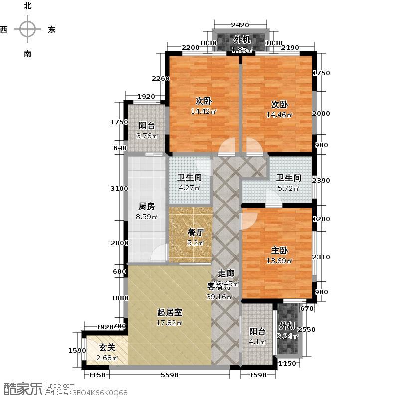 阳光100国际新城T6号楼118.36平米三室两厅一卫K户型