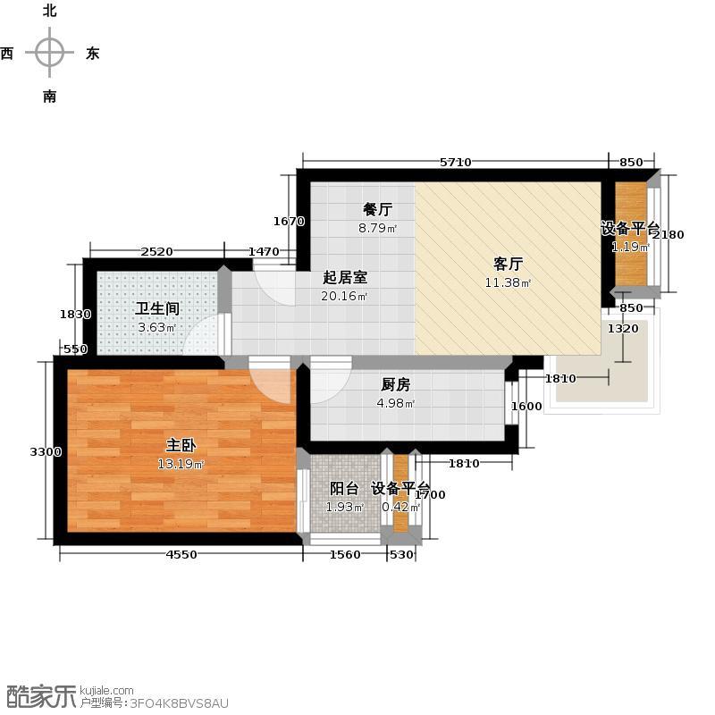 金唐国际公寓62.32㎡03户型一室二厅一卫户型