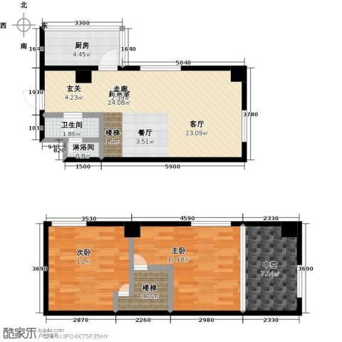 银河国际项目2室0厅1卫1厨64.27㎡户型图