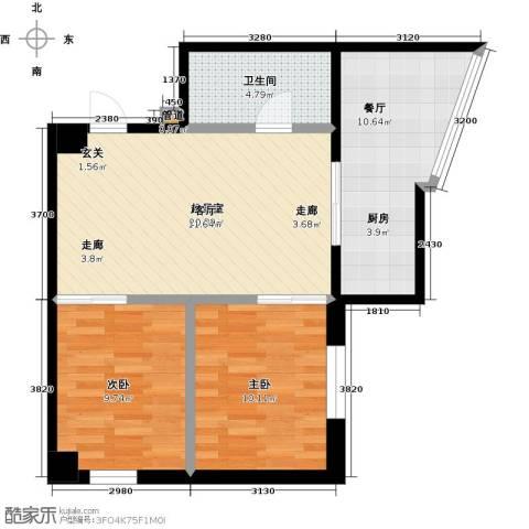 银河国际项目2室1厅1卫0厨78.00㎡户型图