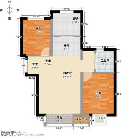 溪语原筑2室1厅1卫1厨83.00㎡户型图