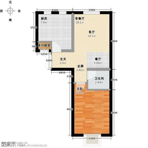 书香名邸1室1厅1卫1厨60.00㎡户型图