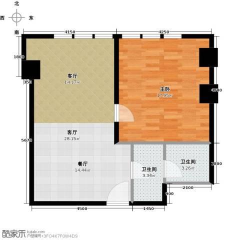 天津公馆1室1厅2卫0厨74.00㎡户型图