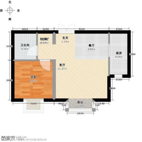 书香名邸1室1厅1卫1厨54.00㎡户型图