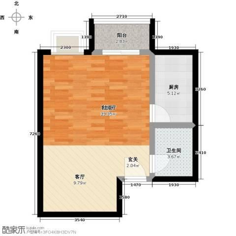 书香名邸1厅1卫1厨49.00㎡户型图